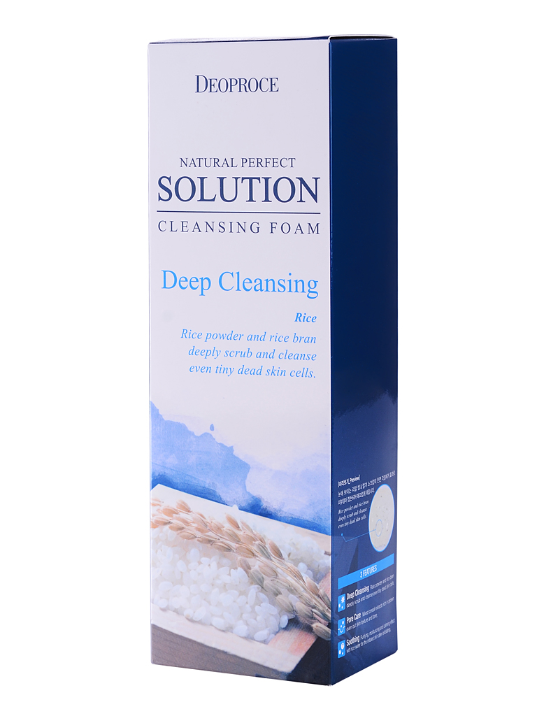 Пенка для умывания Рисовая вода Deoproce NATURAL PERFECT SOLUTION CLEANSING FOAM DEEP CLEANSING, 170 г